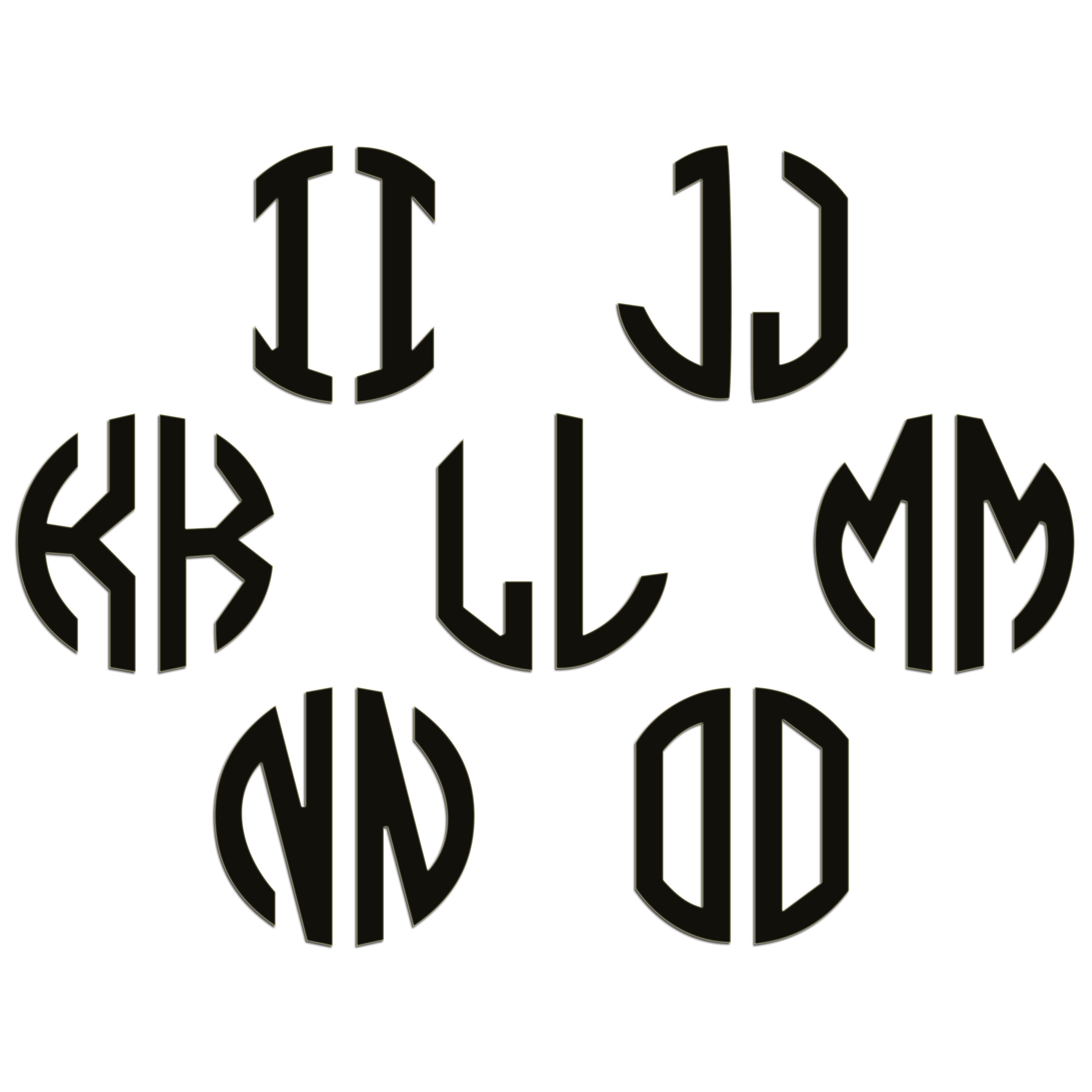 JasonCarlMorgan-JCM-Graphics-Personalised-Initials-Monogram-Sticker thumbnail 47