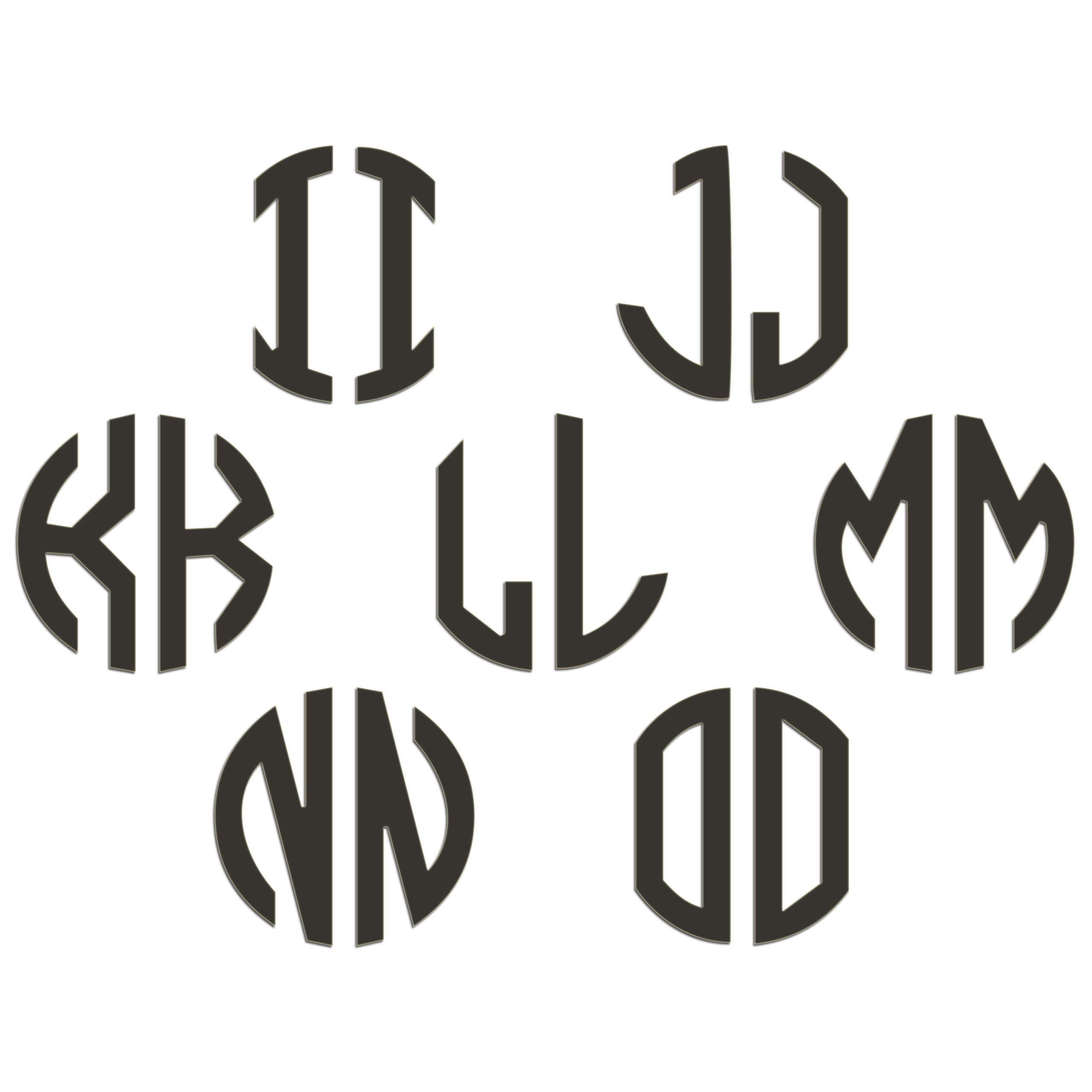JasonCarlMorgan-JCM-Graphics-Personalised-Initials-Monogram-Sticker thumbnail 63